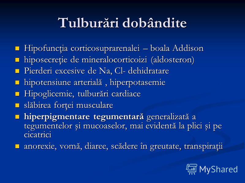 Tulburări dobândite Hipofuncţia corticosuprarenalei – boala Addison Hipofuncţia corticosuprarenalei – boala Addison hiposecreţie de mineralocorticoizi (aldosteron) hiposecreţie de mineralocorticoizi (aldosteron) Pierderi excesive de Na, Cl- dehidrata