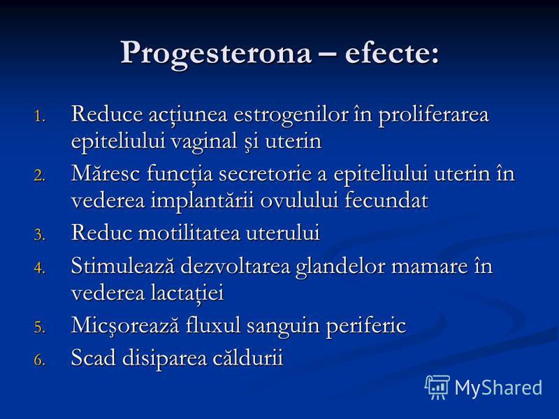 Progesterona – efecte: 1. Reduce acţiunea estrogenilor în proliferarea epiteliului vaginal şi uterin 2. Măresc funcţia secretorie a epiteliului uterin în vederea implantării ovulului fecundat 3. Reduc motilitatea uterului 4. Stimulează dezvoltarea gl