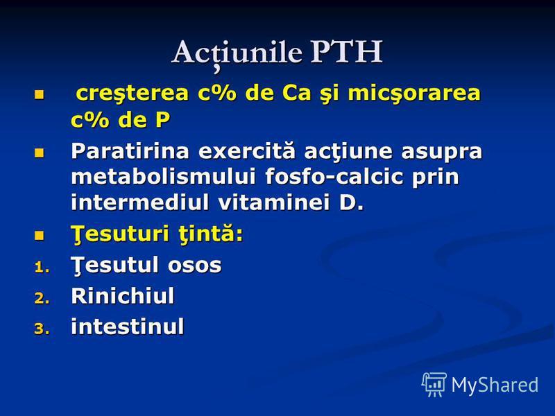 Acţiunile PTH creşterea c% de Ca şi micşorarea c% de P creşterea c% de Ca şi micşorarea c% de P Paratirina exercită acţiune asupra metabolismului fosfo-calcic prin intermediul vitaminei D. Paratirina exercită acţiune asupra metabolismului fosfo-calci