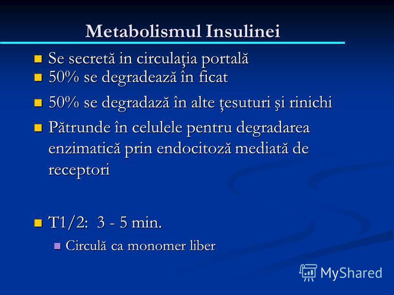 Metabolismul Insulinei Se secretă in circulaţia portală Se secretă in circulaţia portală 50% se degradează în ficat 50% se degradează în ficat 50% se degradază în alte ţesuturi şi rinichi 50% se degradază în alte ţesuturi şi rinichi Pătrunde în celul