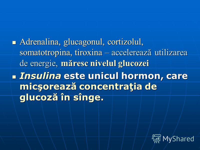 Adrenalina, glucagonul, cortizolul, somatotropina, tiroxina – accelerează utilizarea de energie, măresc nivelul glucozei Adrenalina, glucagonul, cortizolul, somatotropina, tiroxina – accelerează utilizarea de energie, măresc nivelul glucozei Insulina