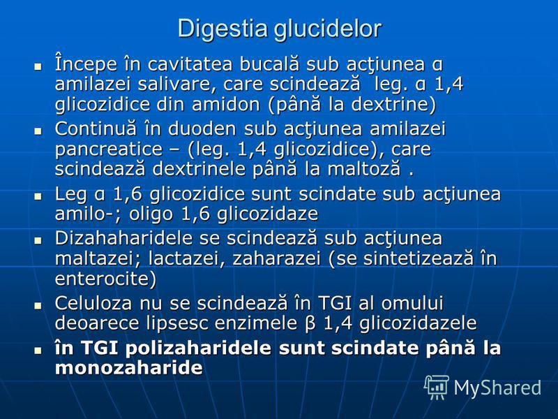 Digestia glucidelor Începe în cavitatea bucală sub acţiunea α amilazei salivare, care scindează leg. α 1,4 glicozidice din amidon (până la dextrine) Începe în cavitatea bucală sub acţiunea α amilazei salivare, care scindează leg. α 1,4 glicozidice di