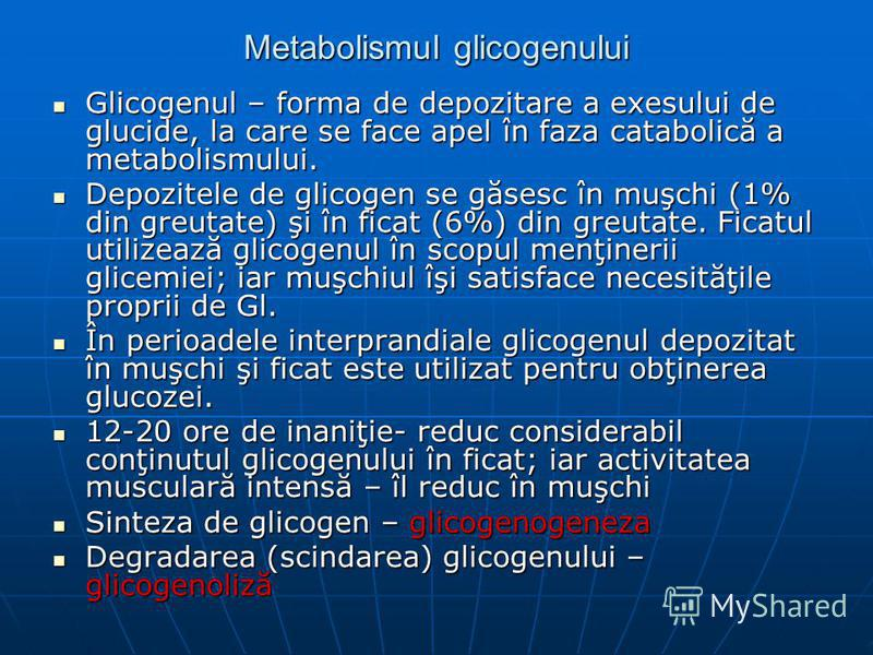Metabolismul glicogenului Glicogenul – forma de depozitare a exesului de glucide, la care se face apel în faza catabolică a metabolismului. Glicogenul – forma de depozitare a exesului de glucide, la care se face apel în faza catabolică a metabolismul