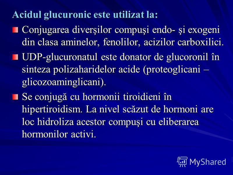 Acidul glucuronic este utilizat la: Conjugarea diverşilor compuşi endo- şi exogeni din clasa aminelor, fenolilor, acizilor carboxilici. UDP-glucuronatul este donator de glucoronil în sinteza polizaharidelor acide (proteoglicani – glicozoaminglicani).