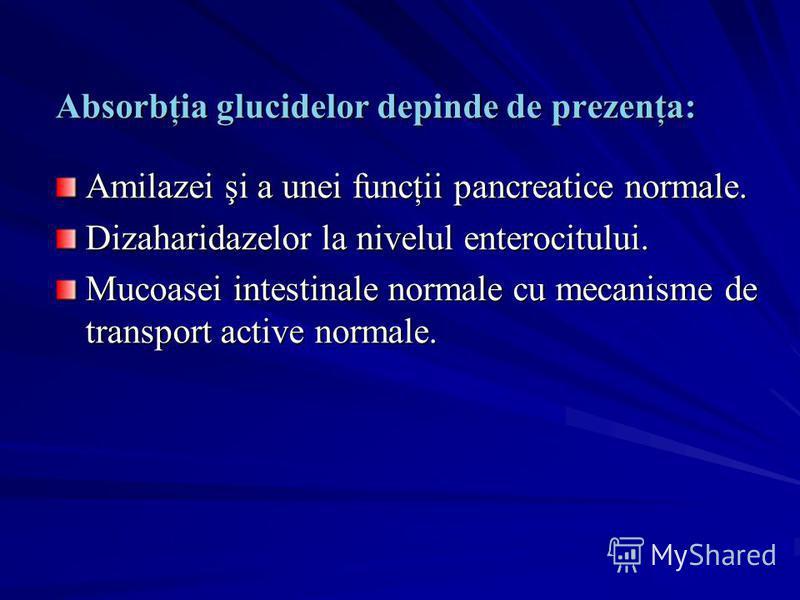 Absorbţia glucidelor depinde de prezenţa: Amilazei şi a unei funcţii pancreatice normale. Dizaharidazelor la nivelul enterocitului. Mucoasei intestinale normale cu mecanisme de transport active normale.