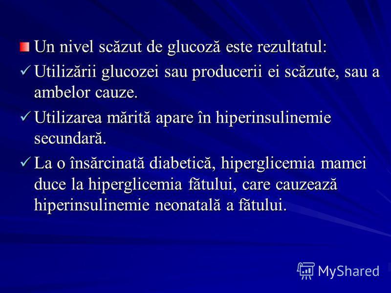 Un nivel scăzut de glucoză este rezultatul: Utilizării glucozei sau producerii ei scăzute, sau a ambelor cauze. Utilizarea mărită apare în hiperinsulinemie secundară. La o însărcinată diabetică, hiperglicemia mamei duce la hiperglicemia fătului, care
