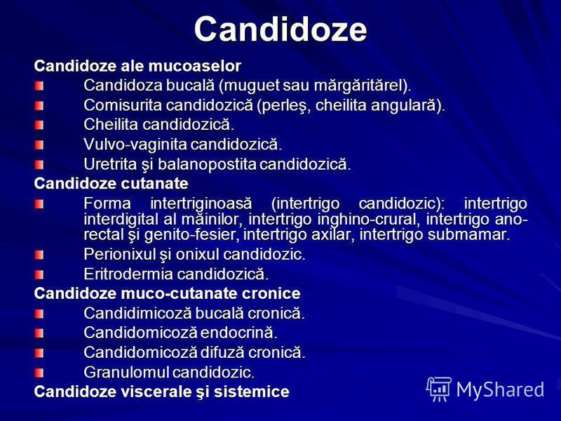 Candidoze Candidoze ale mucoaselor Candidoza bucală (muguet sau mărgăritărel). Comisurita candidozică (perleş, cheilita angulară). Cheilita candidozică. Vulvo-vaginita candidozică. Uretrita şi balanopostita candidozică. Candidoze cutanate Forma inter