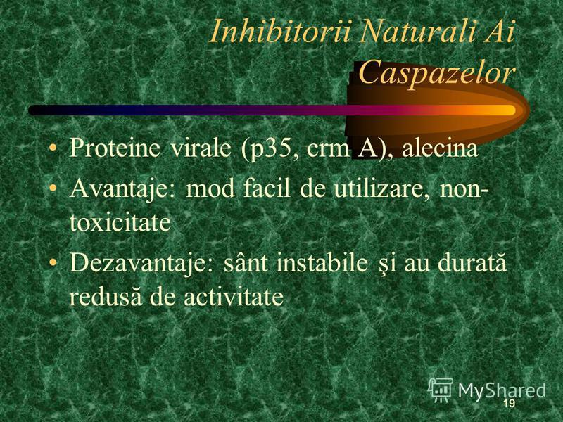 19 Inhibitorii Naturali Ai Caspazelor Proteine virale (p35, crm A), alecina Avantaje: mod facil de utilizare, non- toxicitate Dezavantaje: sânt instabile şi au durată redusă de activitate