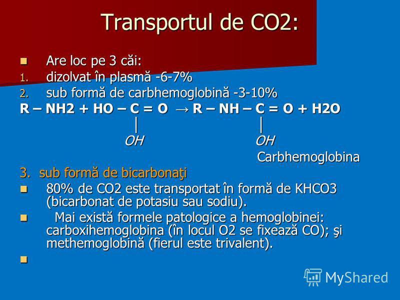 Transportul de CO2: Are loc pe 3 căi: Are loc pe 3 căi: 1. dizolvat în plasmă -6-7% 2. sub formă de carbhemoglobină -3-10% R – NH2 + HO – C = O R – NH – C = O + H2O OH OH OH OH Carbhemoglobina Carbhemoglobina 3. sub formă de bicarbonaţi 80% de CO2 es