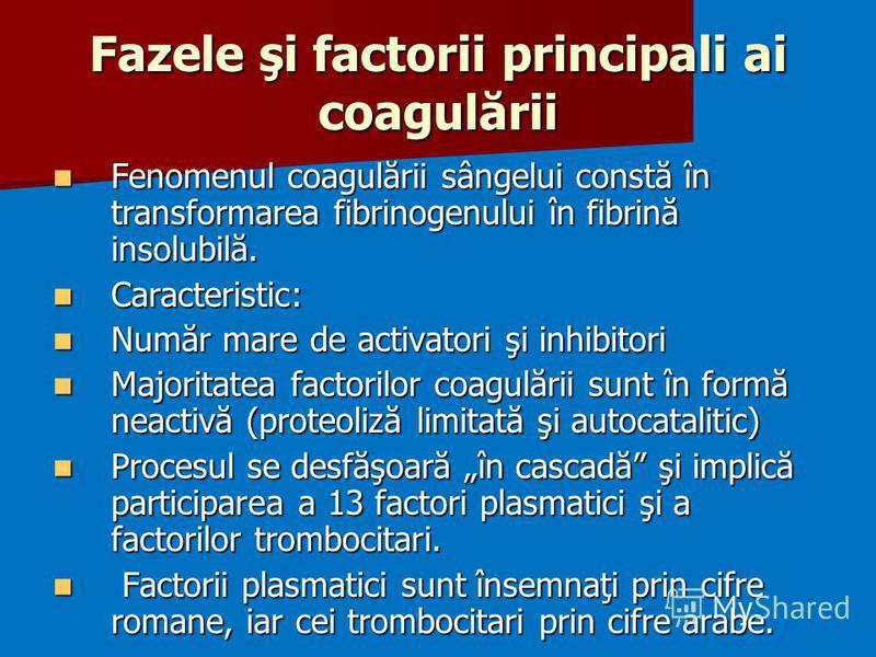 Fazele şi factorii principali ai coagulării Fenomenul coagulării sângelui constă în transformarea fibrinogenului în fibrină insolubilă. Fenomenul coagulării sângelui constă în transformarea fibrinogenului în fibrină insolubilă. Caracteristic: Caracte