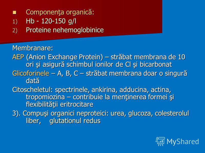 Componenţa organică: Componenţa organică: 1) Hb - 120-150 g/l 2) Proteine nehemoglobinice Membranare: AEP (Anion Exchange Protein) – străbat membrana de 10 ori şi asigură schimbul ionilor de Cl şi bicarbonat Glicoforinele – A, B, C – străbat membrana
