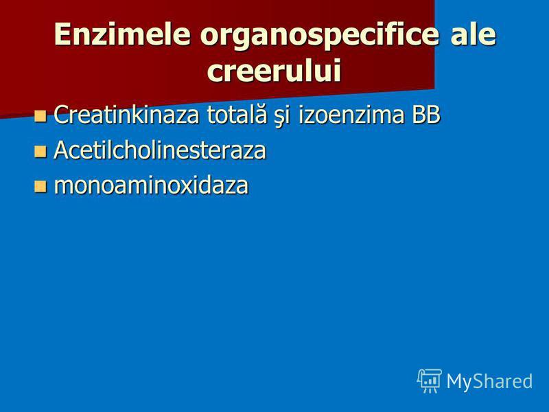 Enzimele organospecifice ale creerului Creatinkinaza totală şi izoenzima BB Creatinkinaza totală şi izoenzima BB Acetilcholinesteraza Acetilcholinesteraza monoaminoxidaza monoaminoxidaza