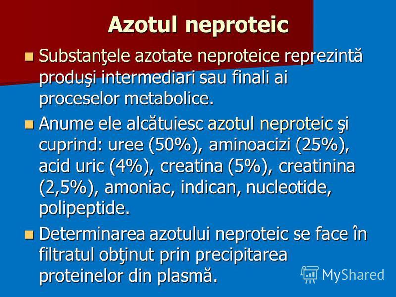 Azotul neproteic Substanţele azotate neproteice reprezintă produşi intermediari sau finali ai proceselor metabolice. Substanţele azotate neproteice reprezintă produşi intermediari sau finali ai proceselor metabolice. Anume ele alcătuiesc azotul nepro