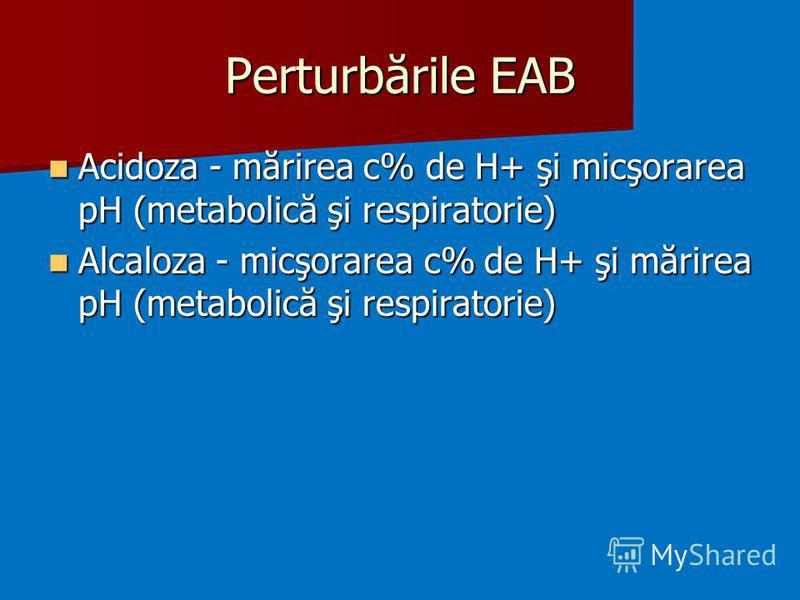 Perturbările EAB Acidoza - mărirea c% de H+ şi micşorarea pH (metabolică şi respiratorie) Acidoza - mărirea c% de H+ şi micşorarea pH (metabolică şi respiratorie) Alcaloza - micşorarea c% de H+ şi mărirea pH (metabolică şi respiratorie) Alcaloza - mi