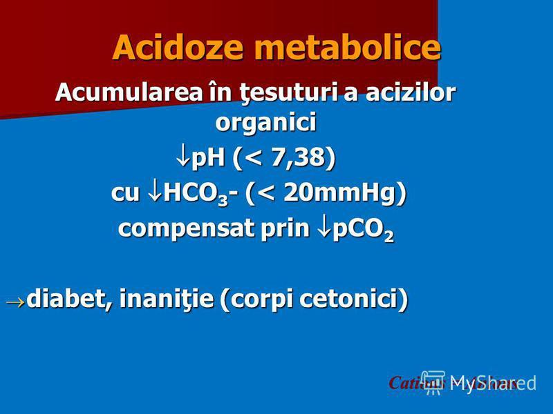 Acidoze metabolice Acumularea în ţesuturi a acizilor organici pH (< 7,38) pH (< 7,38) cu HCO 3 - (< 20mmHg) cu HCO 3 - (< 20mmHg) compensat prin pCO 2 diabet, inaniţie (corpi cetonici) diabet, inaniţie (corpi cetonici) Cations = Anions