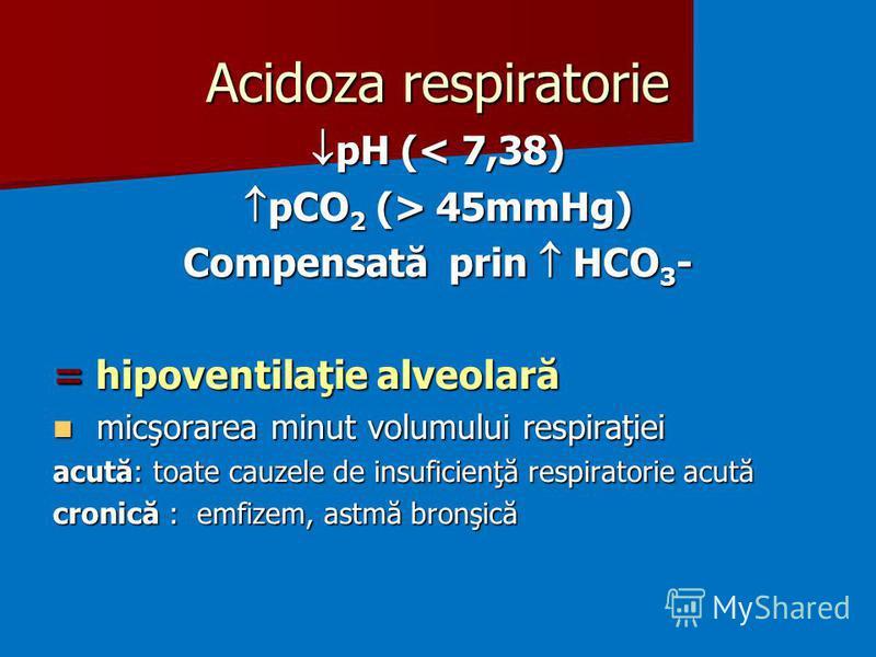 Acidoza respiratorie pH (< 7,38) pH (< 7,38) pCO 2 (> 45mmHg) pCO 2 (> 45mmHg) Compensată prin HCO 3 - = hipoventilaţie alveolară micşorarea minut volumului respiraţiei micşorarea minut volumului respiraţiei acută: toate cauzele de insuficienţă respi
