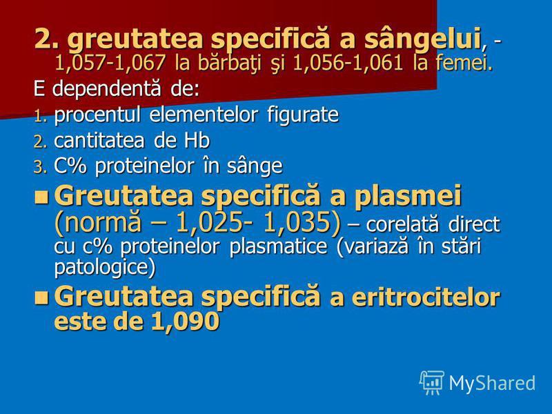 2. greutatea specifică a sângelui, - 1,057-1,067 la bărbaţi şi 1,056-1,061 la femei. E dependentă de: 1. procentul elementelor figurate 2. cantitatea de Hb 3. C% proteinelor în sânge Greutatea specifică a plasmei (normă – 1,025- 1,035) – corelată dir