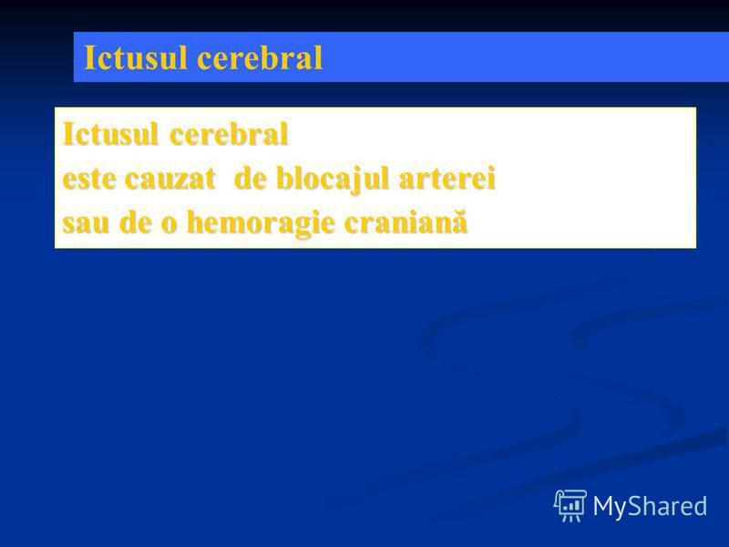 Ictusul cerebral este cauzat de blocajul arterei sau de o hemoragie craniană