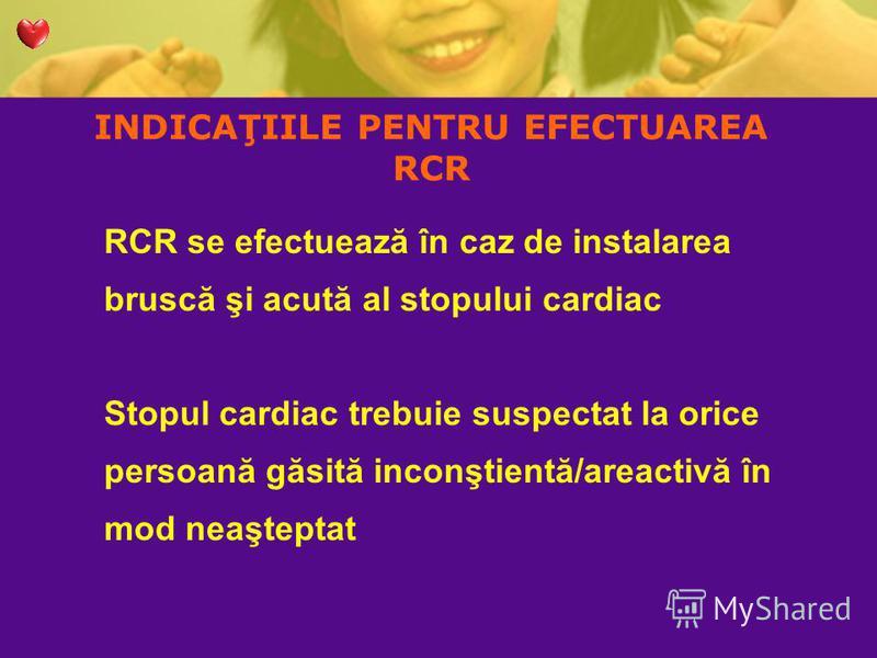 INDICAŢIILE PENTRU EFECTUAREA RCR RCR se efectuează în caz de instalarea bruscă şi acută al stopului cardiac Stopul cardiac trebuie suspectat la orice persoană găsită inconştientă/areactivă în mod neaşteptat