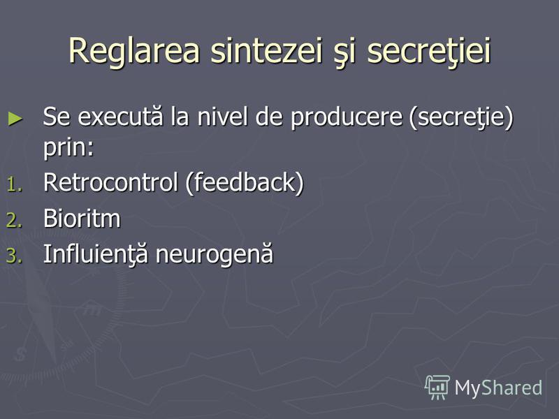 Reglarea sintezei şi secreţiei Se execută la nivel de producere (secreţie) prin: Se execută la nivel de producere (secreţie) prin: 1. Retrocontrol (feedback) 2. Bioritm 3. Influienţă neurogenă