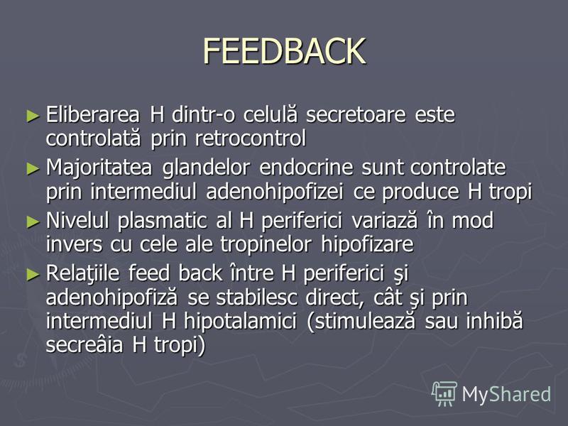FEEDBACK Eliberarea H dintr-o celulă secretoare este controlată prin retrocontrol Eliberarea H dintr-o celulă secretoare este controlată prin retrocontrol Majoritatea glandelor endocrine sunt controlate prin intermediul adenohipofizei ce produce H tr