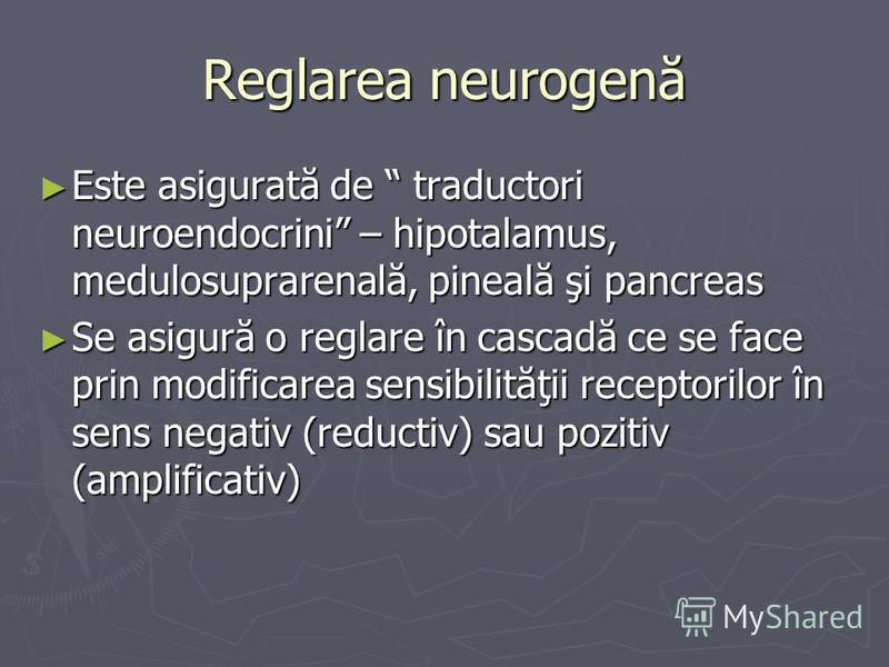 Reglarea neurogenă Este asigurată de traductori neuroendocrini – hipotalamus, medulosuprarenală, pineală şi pancreas Este asigurată de traductori neuroendocrini – hipotalamus, medulosuprarenală, pineală şi pancreas Se asigură o reglare în cascadă ce