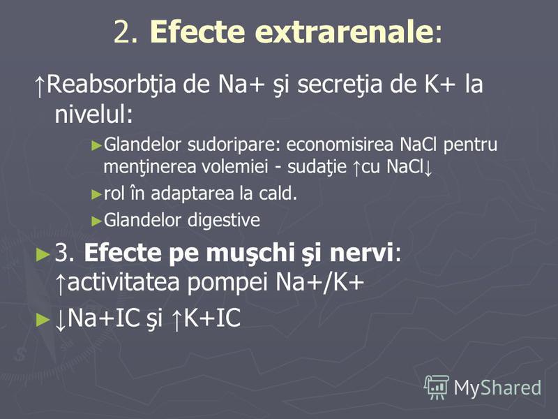 2. Efecte extrarenale: Reabsorbţia de Na+ şi secreţia de K+ la nivelul: Glandelor sudoripare: economisirea NaCl pentru menţinerea volemiei - sudaţie cu NaCl rol în adaptarea la cald. Glandelor digestive 3. Efecte pe muşchi şi nervi: activitatea pompe