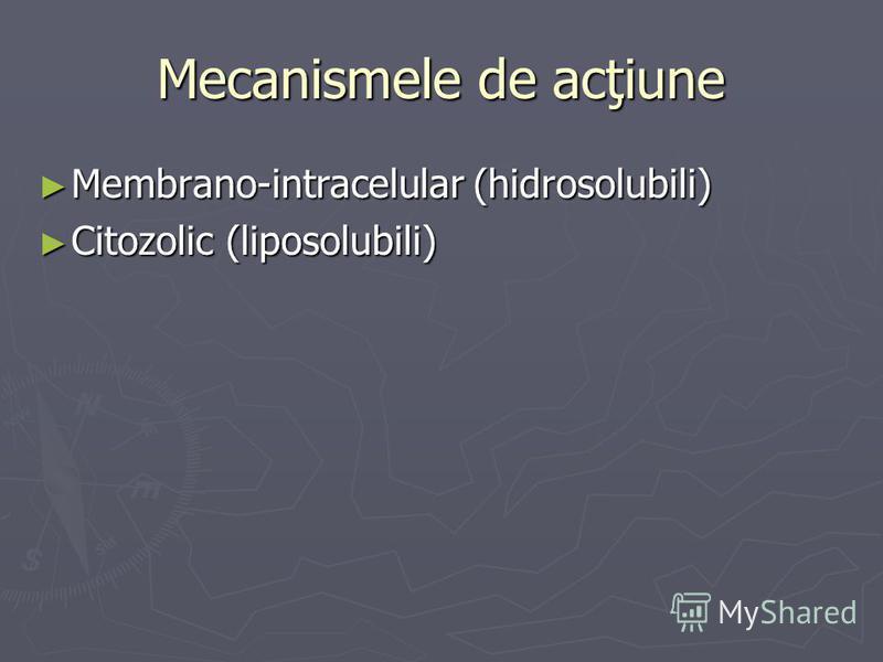 Mecanismele de acţiune Membrano-intracelular (hidrosolubili) Membrano-intracelular (hidrosolubili) Citozolic (liposolubili) Citozolic (liposolubili)