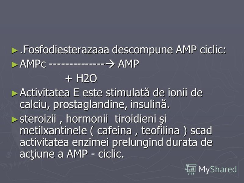.Fosfodiesterazaaa descompune AMP ciclic:.Fosfodiesterazaaa descompune AMP ciclic: AMPc -------------- AMP AMPc -------------- AMP + H2O + H2O Activitatea E este stimulată de ionii de calciu, prostaglandine, insulină. Activitatea E este stimulată de