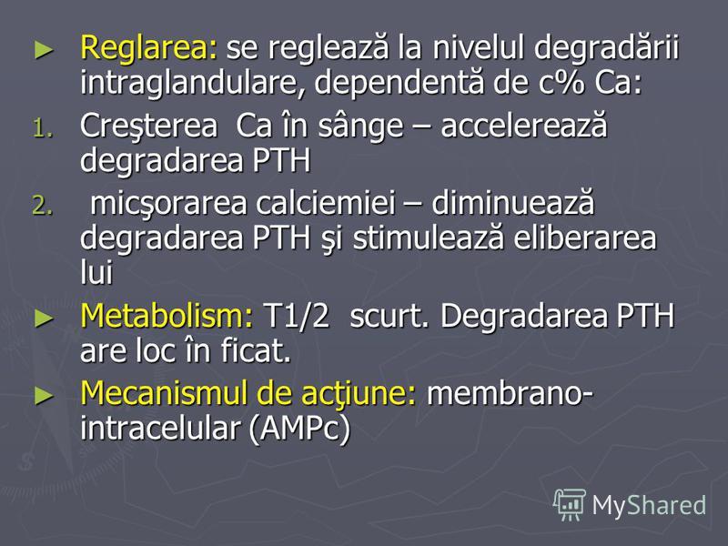 Reglarea: se reglează la nivelul degradării intraglandulare, dependentă de c% Ca: Reglarea: se reglează la nivelul degradării intraglandulare, dependentă de c% Ca: 1. Creşterea Ca în sânge – accelerează degradarea PTH 2. micşorarea calciemiei – dimin