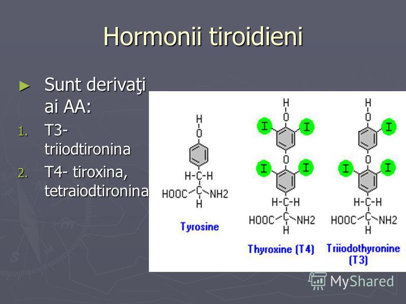Hormonii tiroidieni Sunt derivaţi ai AA: Sunt derivaţi ai AA: 1. T3- triiodtironina 2. T4- tiroxina, tetraiodtironina