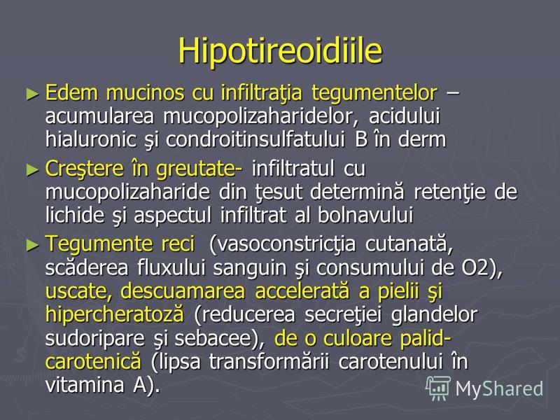 Hipotireoidiile Edem mucinos cu infiltraţia tegumentelor – acumularea mucopolizaharidelor, acidului hialuronic şi condroitinsulfatului B în derm Edem mucinos cu infiltraţia tegumentelor – acumularea mucopolizaharidelor, acidului hialuronic şi condroi