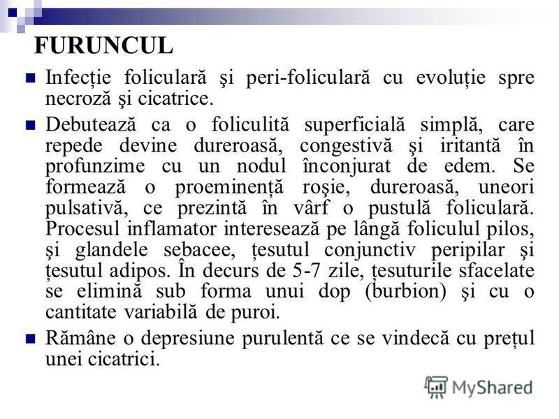 FURUNCUL Infecţie foliculară şi peri-foliculară cu evoluţie spre necroză şi cicatrice. Debutează ca o foliculită superficială simplă, care repede devine dureroasă, congestivă şi iritantă în profunzime cu un nodul înconjurat de edem. Se formează o pro