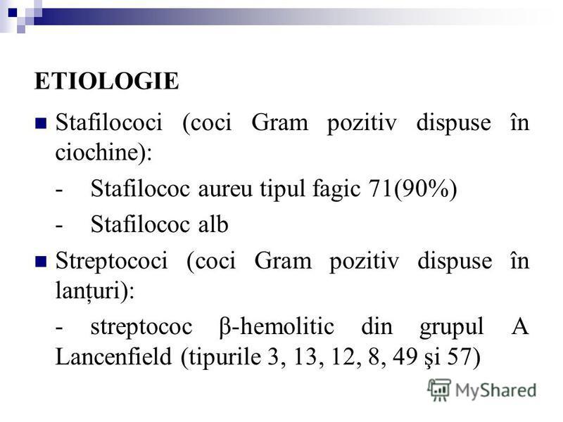 ETIOLOGIE Stafilococi (coci Gram pozitiv dispuse în ciochine): - Stafilococ aureu tipul fagic 71(90%) -Stafilococ alb Streptococi (coci Gram pozitiv dispuse în lanţuri): -streptococ β-hemolitic din grupul A Lancenfield (tipurile 3, 13, 12, 8, 49 şi 5