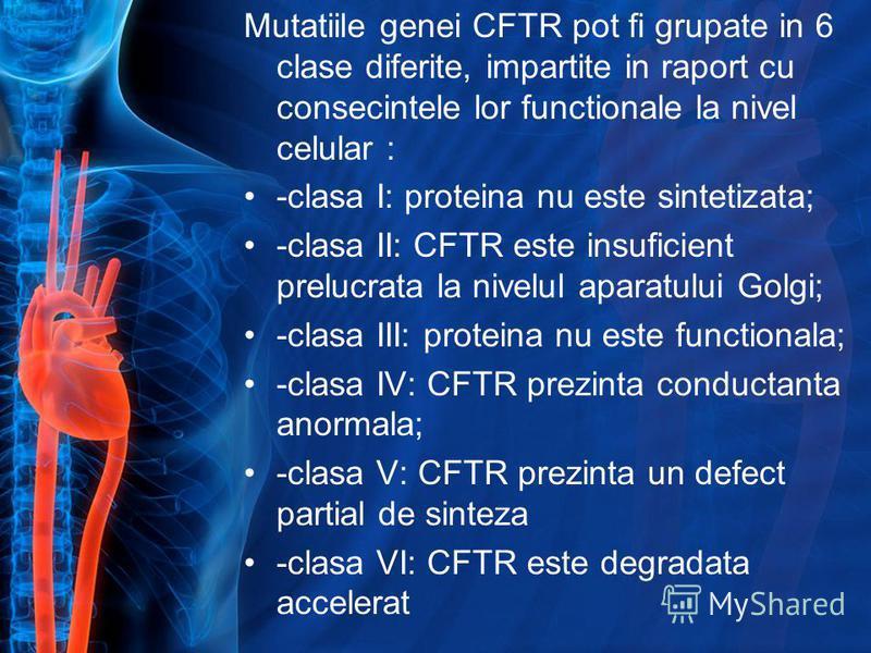 Mutatiile genei CFTR pot fi grupate in 6 clase diferite, impartite in raport cu consecintele lor functionale la nivel celular : -clasa I: proteina nu este sintetizata; -clasa II: CFTR este insuficient prelucrata la nivelul aparatului Golgi; -clasa II
