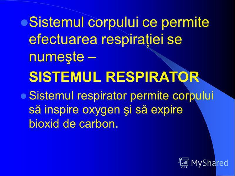 Sistemul corpului ce permite efectuarea respiraţiei se numeşte – SISTEMUL RESPIRAТOR Sistemul respirator permite corpului să inspire oxygen şi să expire bioxid de carbon.