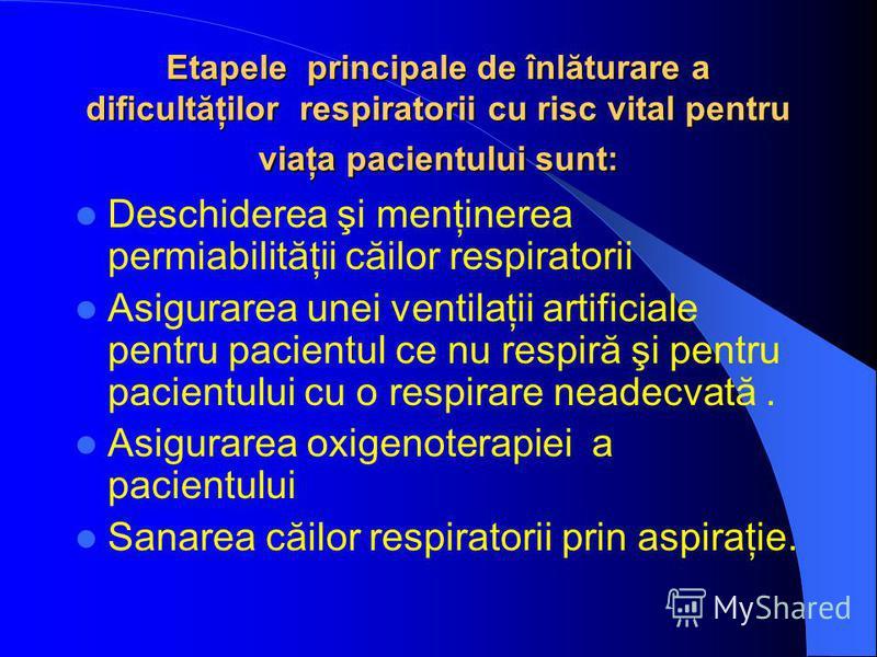 Etapele principale de înlăturare a dificultăţilor respiratorii cu risc vital pentru viaţa pacientului sunt: Deschiderea şi menţinerea permiabilităţii căilor respiratorii Asigurarea unei ventilaţii artificiale pentru pacientul ce nu respiră şi pentru