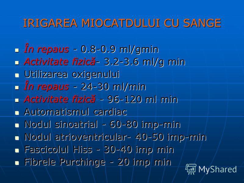 IRIGAREA MIOCATDULUI CU SANGE În repaus - 0.8-0.9 ml/gmin În repaus - 0.8-0.9 ml/gmin Activitate fizică- 3.2-3.6 ml/g min Activitate fizică- 3.2-3.6 ml/g min Utilizarea oxigenului Utilizarea oxigenului În repaus - 24-30 ml/min În repaus - 24-30 ml/mi