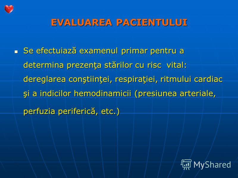 EVALUAREA PACIENTULUI Se efectuiază examenul primar pentru a determina prezenţa stărilor cu risc vital: dereglarea conştiinţei, respiraţiei, ritmului cardiac şi a indicilor hemodinamicii (presiunea arteriale, perfuzia periferică, etc.) Se efectuiază