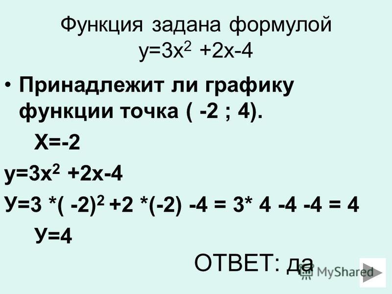 Функция задана формулой у=3 х 2 +2 х-4 Принадлежит ли графику функции точка ( -2 ; 4). Х=-2 у=3 х 2 +2 х-4 У=3 *( -2) 2 +2 *(-2) -4 = 3* 4 -4 -4 = 4 У=4 ОТВЕТ: да