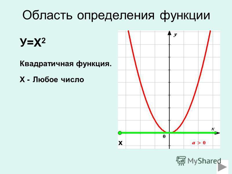Область определения функции У=Х 2 Квадратичная функция. Х - Любое число х