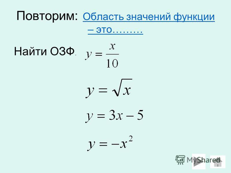Повторим: Область значений функции – это……… Область значений функции – это……… Найти ОЗФ.