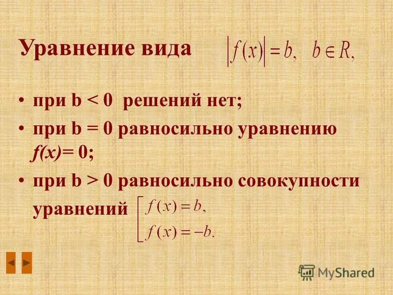 при b < 0 решений нет; при b = 0 равносильно уравнению f(x)= 0; при b > 0 равносильно совокупности уравнений Уравнение вида