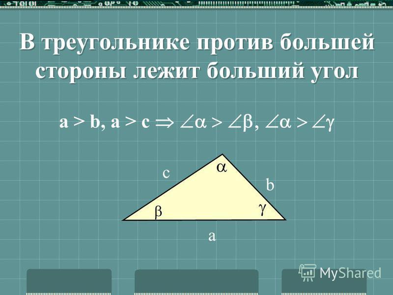 Неравенство треугольника Любая сторона треугольника меньше суммы двух других его сторон а а b с с a < b + c b < a + c c < b + a