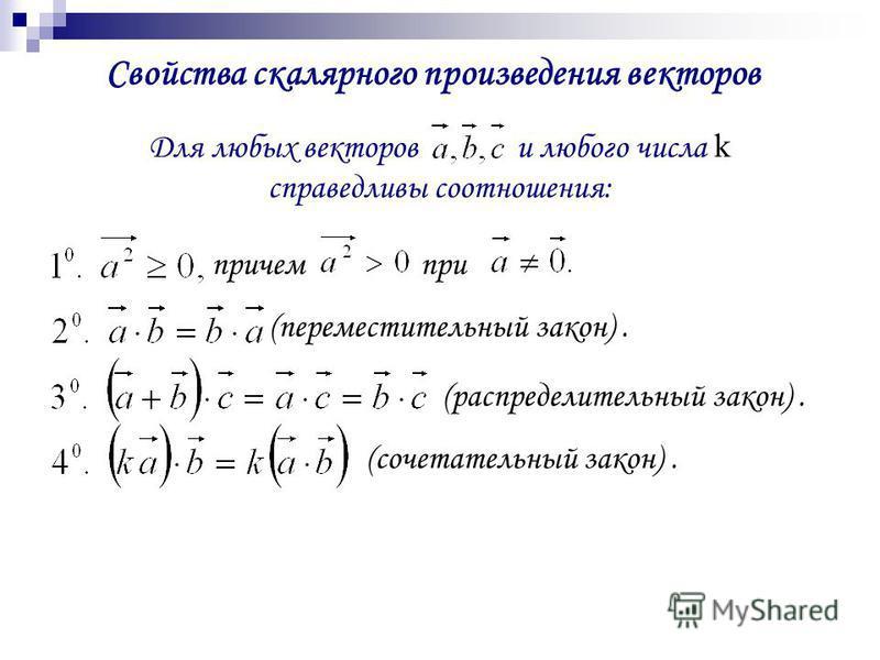 Свойства скалярного произведения векторов Для любых векторов и любого числа k справедливы соотношения: причем при (переместительный закон). (распределительный закон). (сочетательный закон).