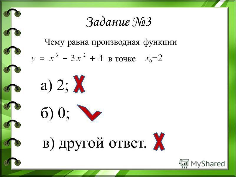 Задание 3 Чему равна производная функции в точке а) 2; б) 0; в) другой ответ.