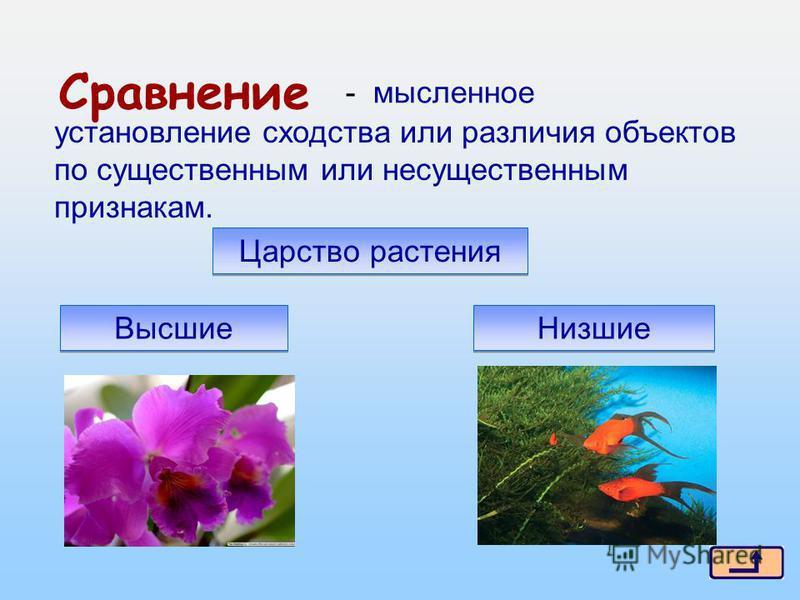 10 из 16 Сравнение установление сходства или различия объектов по существенным или несущественным признакам. - мысленное Царство растения Высшие Низшие