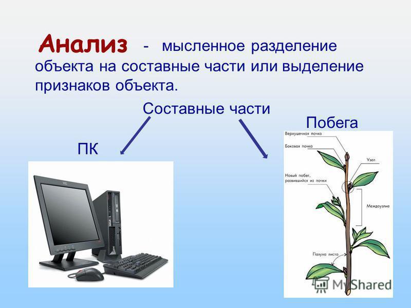 3 из 16 Анализ объекта на составные части или выделение признаков объекта. - мысленное разделение Составные части ПК Побега