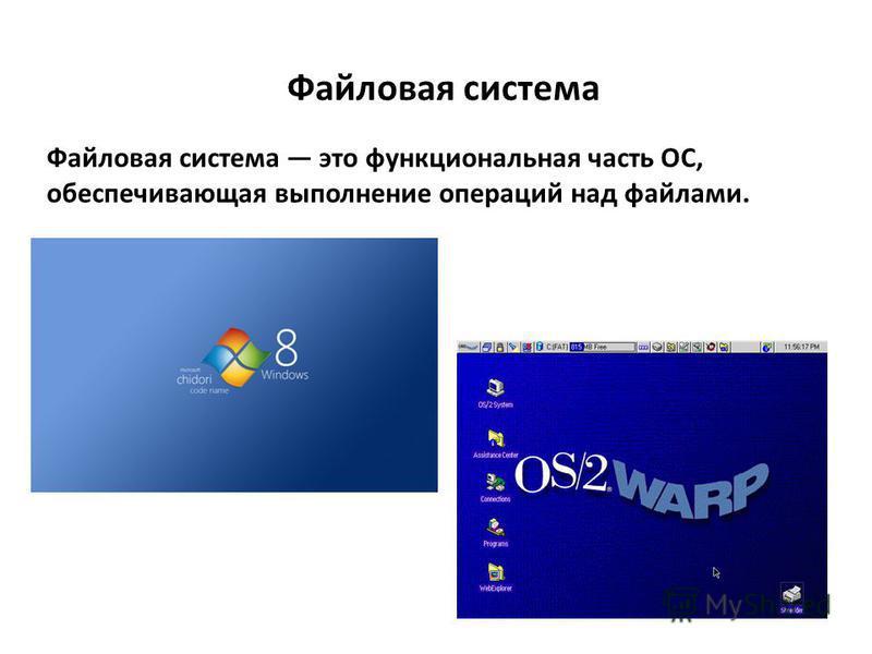 Файловая система это функциональная часть ОС, обеспечивающая выполнение операций над файлами. Файловая система