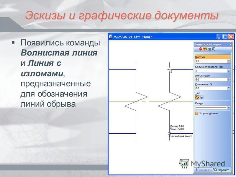 Эскизы и графические документы Появились команды Волнистая линия и Линия с изломами, предназначенные для обозначения линий обрыва
